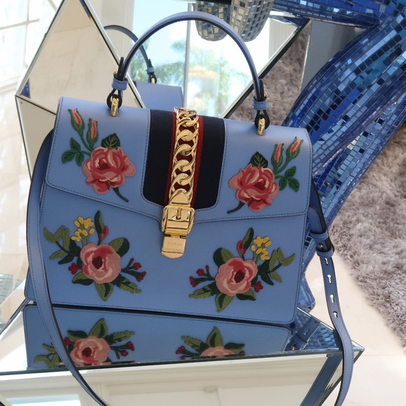 c57330a0a Gucci Bags | Sylvie Top Handle Embroidered Medium Blue | Poshmark